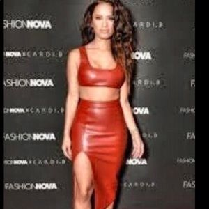 Red leather two piece set